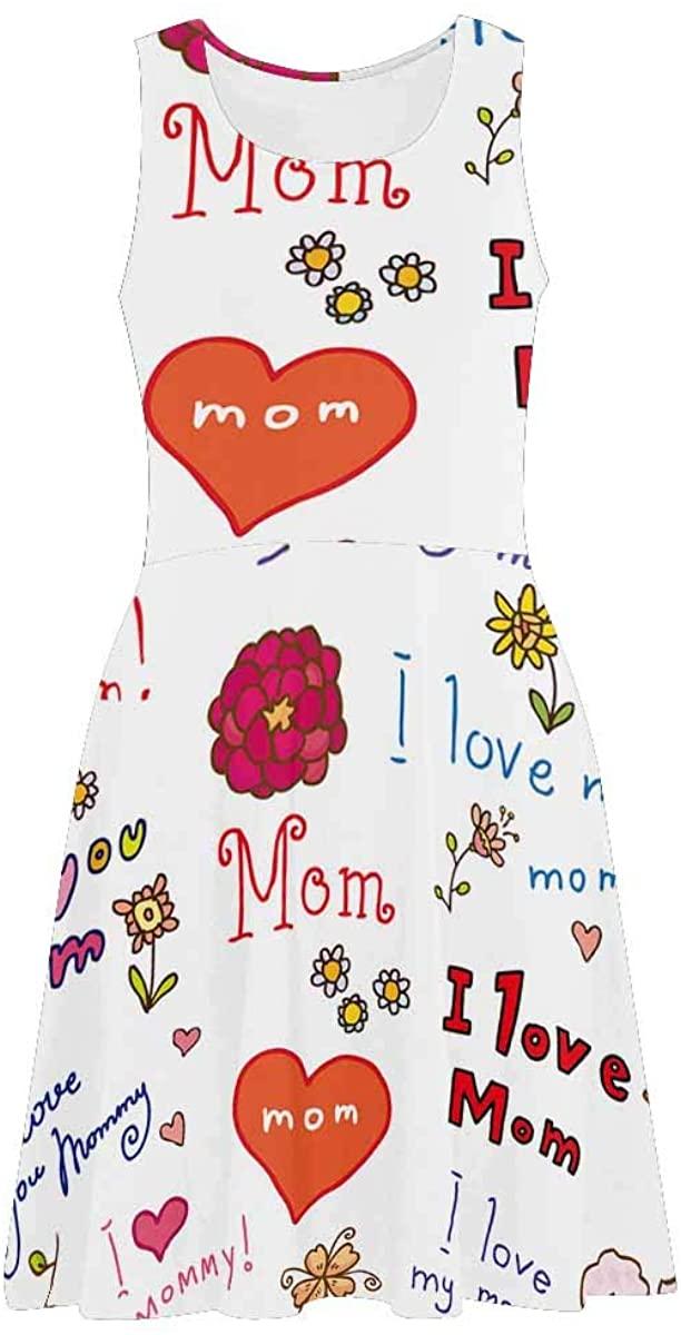 INTERESTPRINT Women's Sleeveless Sundresses Happy Mother's Day Love Heart I Love You Mom Sleeveless Beach Swing Tank Dresses