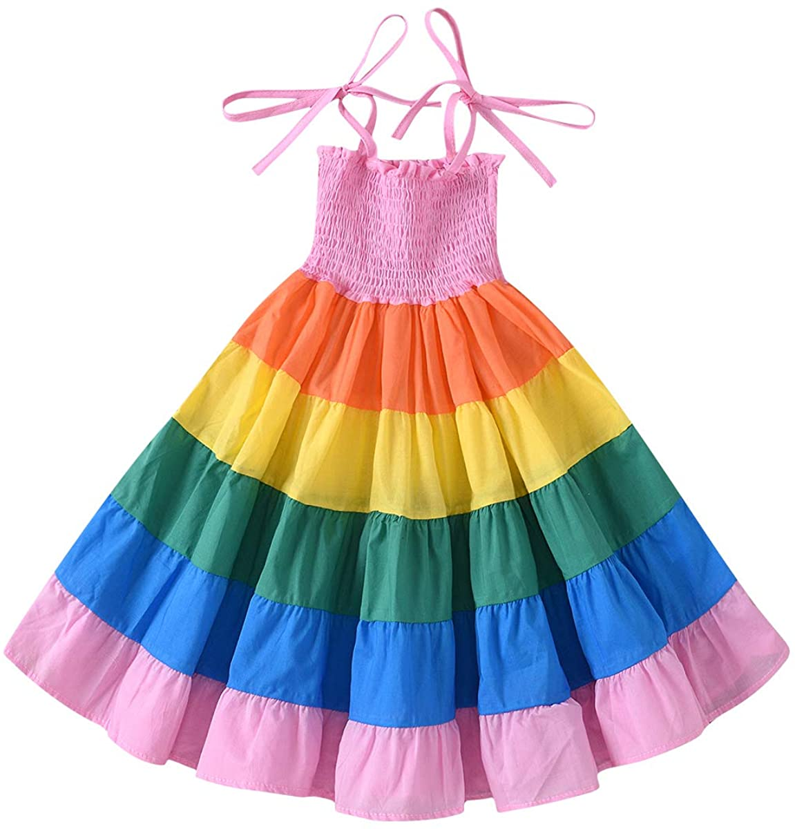 Baby Girls Rainbow Dress Toddler Princess Sleeveless Halter Beach Tutu Sundress