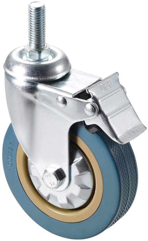 uxcell Swivel Caster Wheels PVC Caster 4 Inch Dia Wheel M12 x 30mm Threaded Stem with Brake, 100lb Capacity