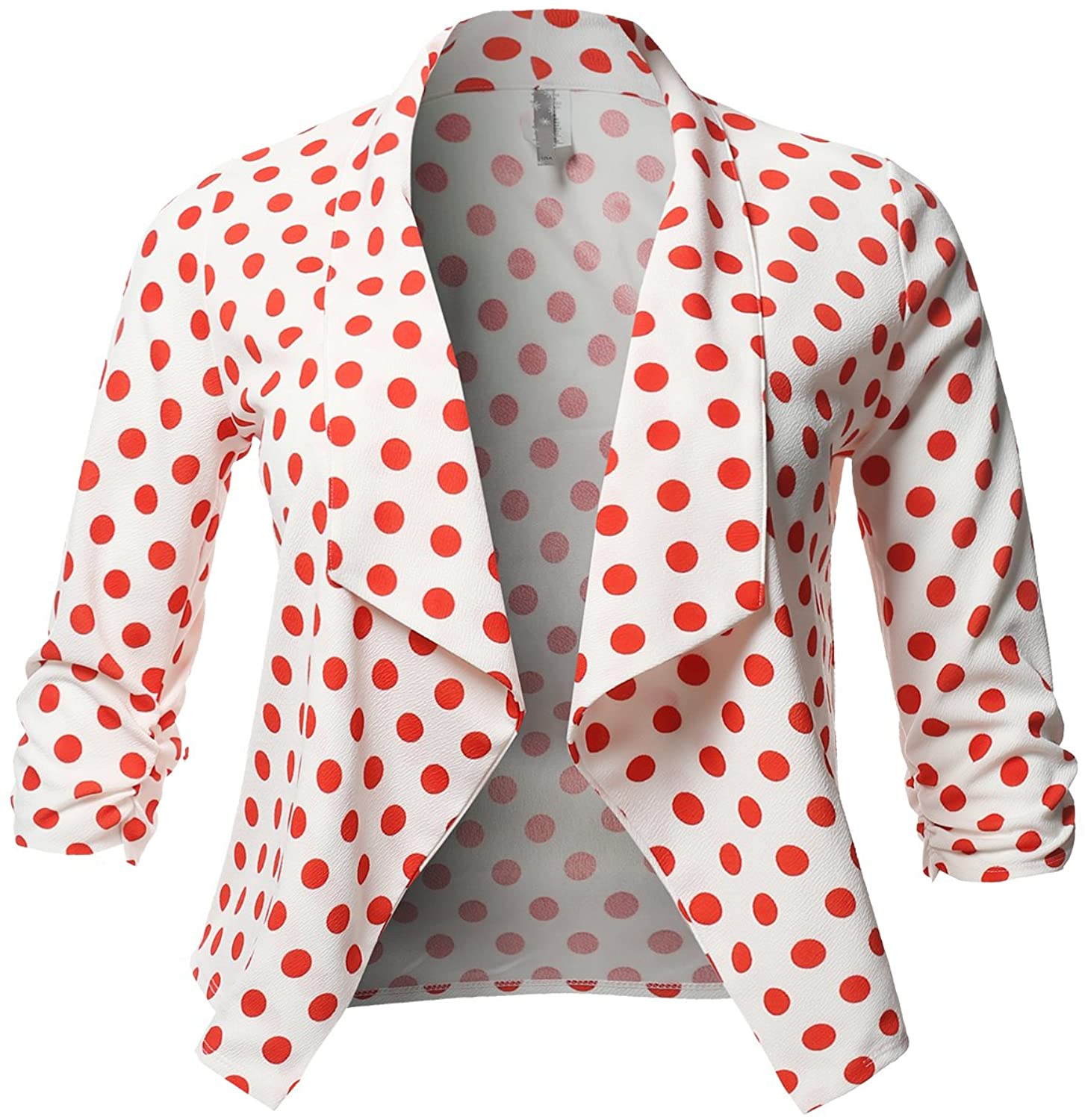 Plus Size Stretch Floral Printed 3/4 Shirring Sleeve Open Blazer White Red 3XL