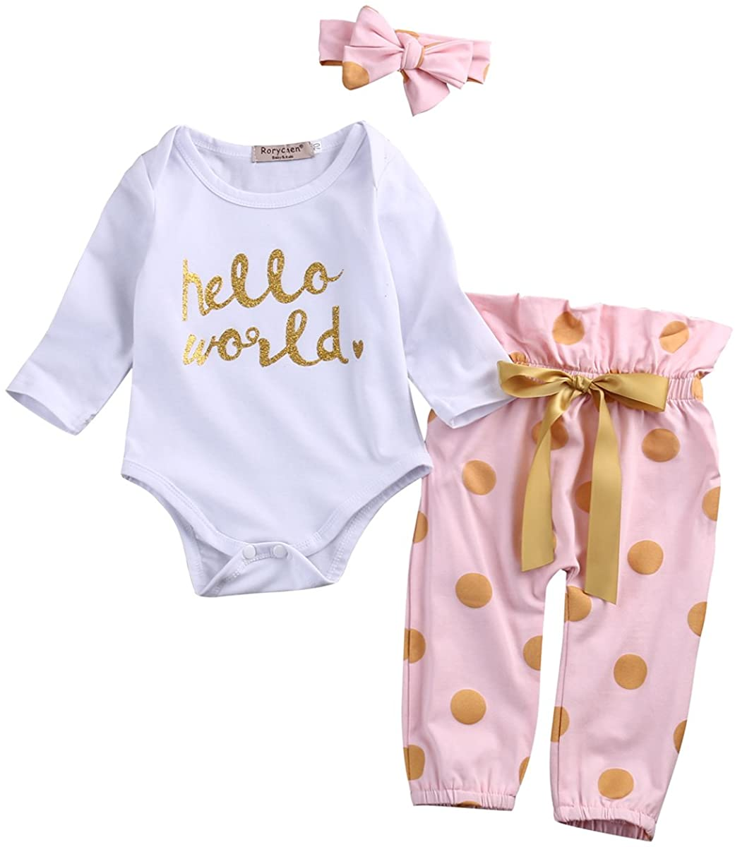 3Pcs Infant Baby Girls Romper Tops Pants Newborn Cotton Clothes Outfit Sets Bowknot Headband Hello World Letter Print