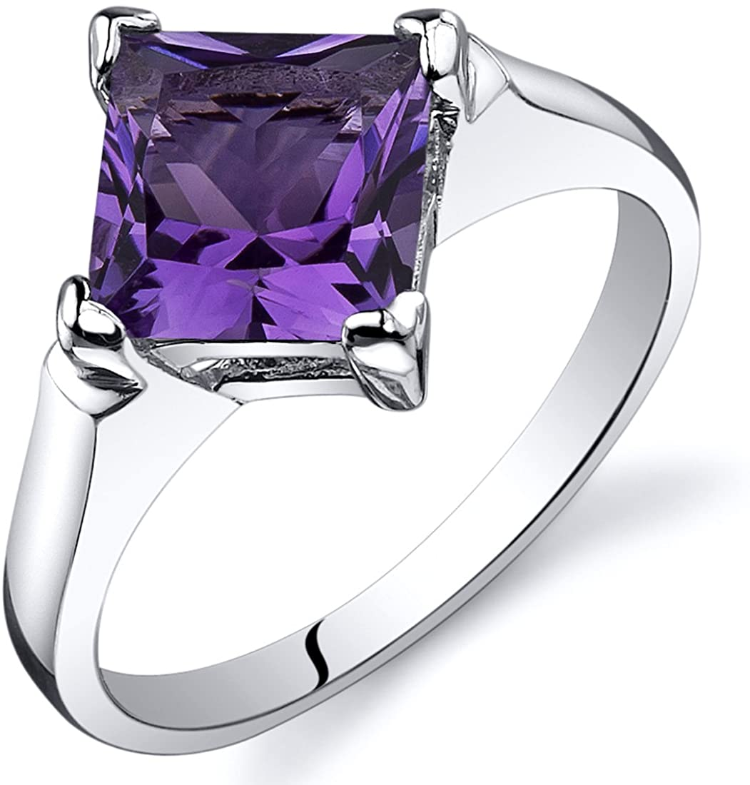 Peora Amethyst Engagement Ring in Sterling Silver, Classic Designer Solitaire, Princess Cut, 7mm, 1.50 Carats, Comfort Fit, Sizes 5 to 9