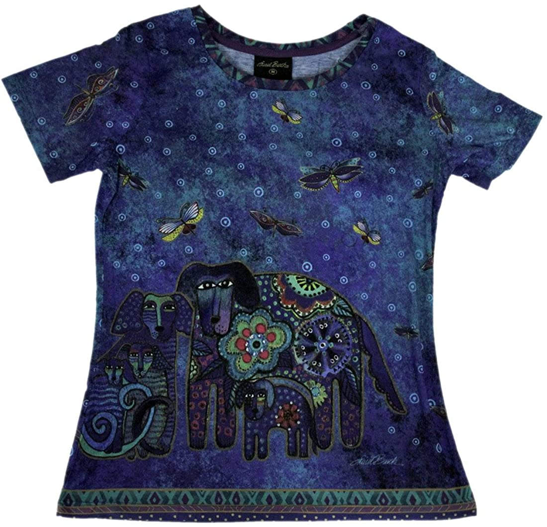Laurel Burch Blue Canine Family Short Sleeve Ladies T-Shirt