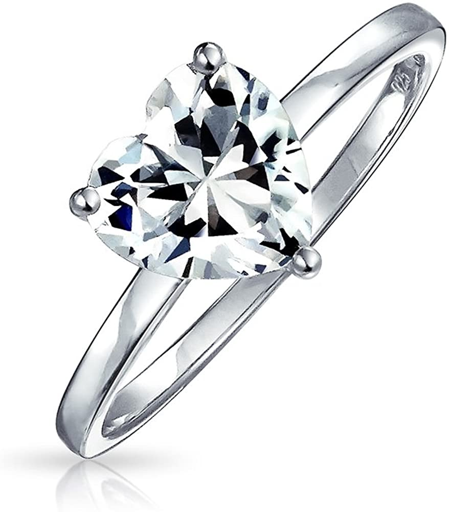 Simple 2CT AAA CZ Solitaire Heart Shaped Engagement Ring Thin Band Promise Ring 925 Sterling Silver For Women