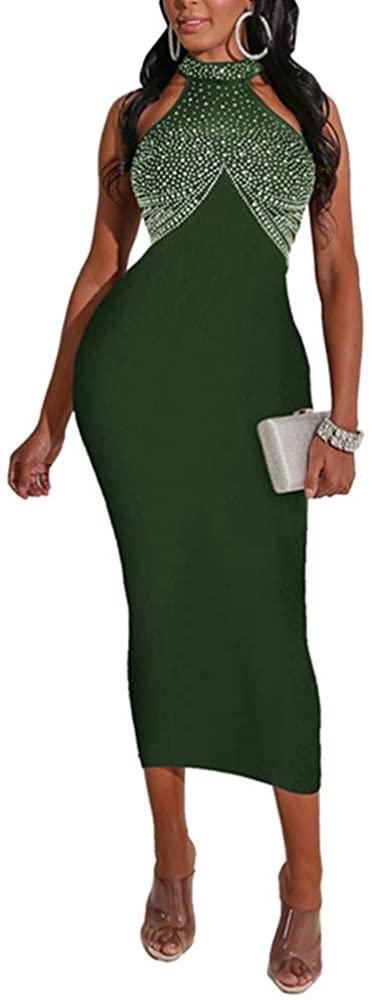 Xuan2Xuan3 Women Summer Dresses Halter Neck Sleeveless Rhinestone Bodycon Party Bandage Gown Long Evening Dress