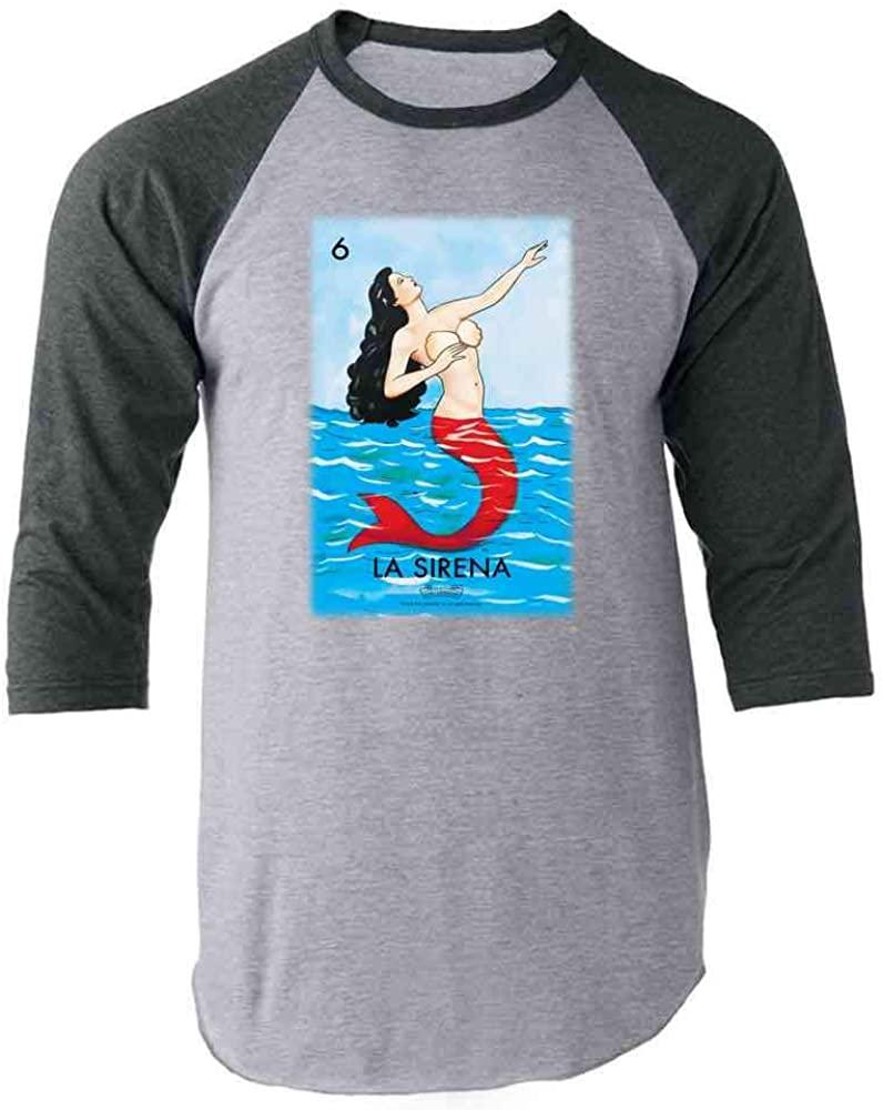 La Sirena Mermaid Loteria Card Mexican Bingo Gray L Raglan Baseball Tee Shirt