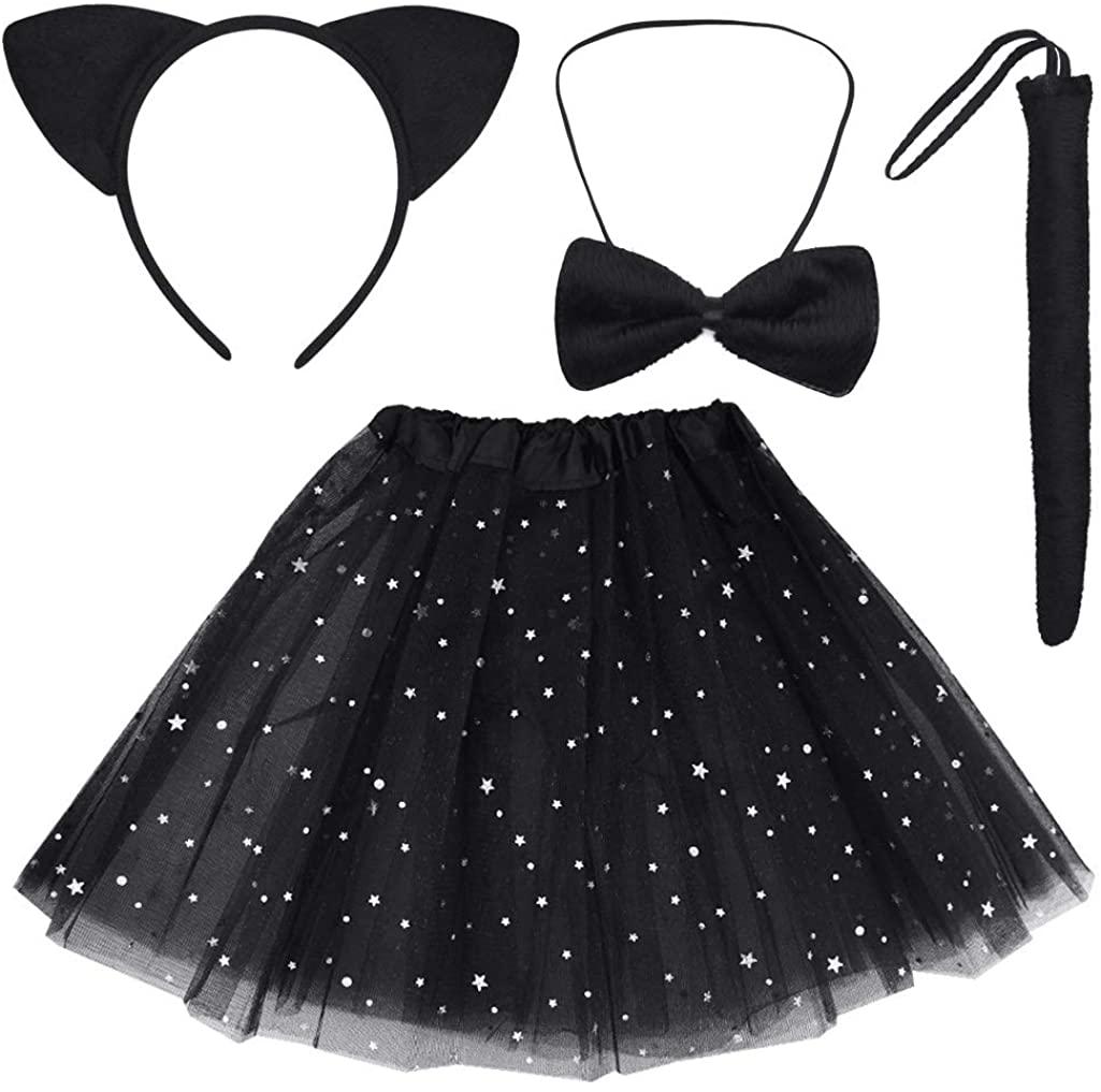 Dxhycc Black Cat Costume Set Cat Ears Headband Tail Bowtie Tutu-Halloween, Dress Up, Kids Cosplay Accessory Kit