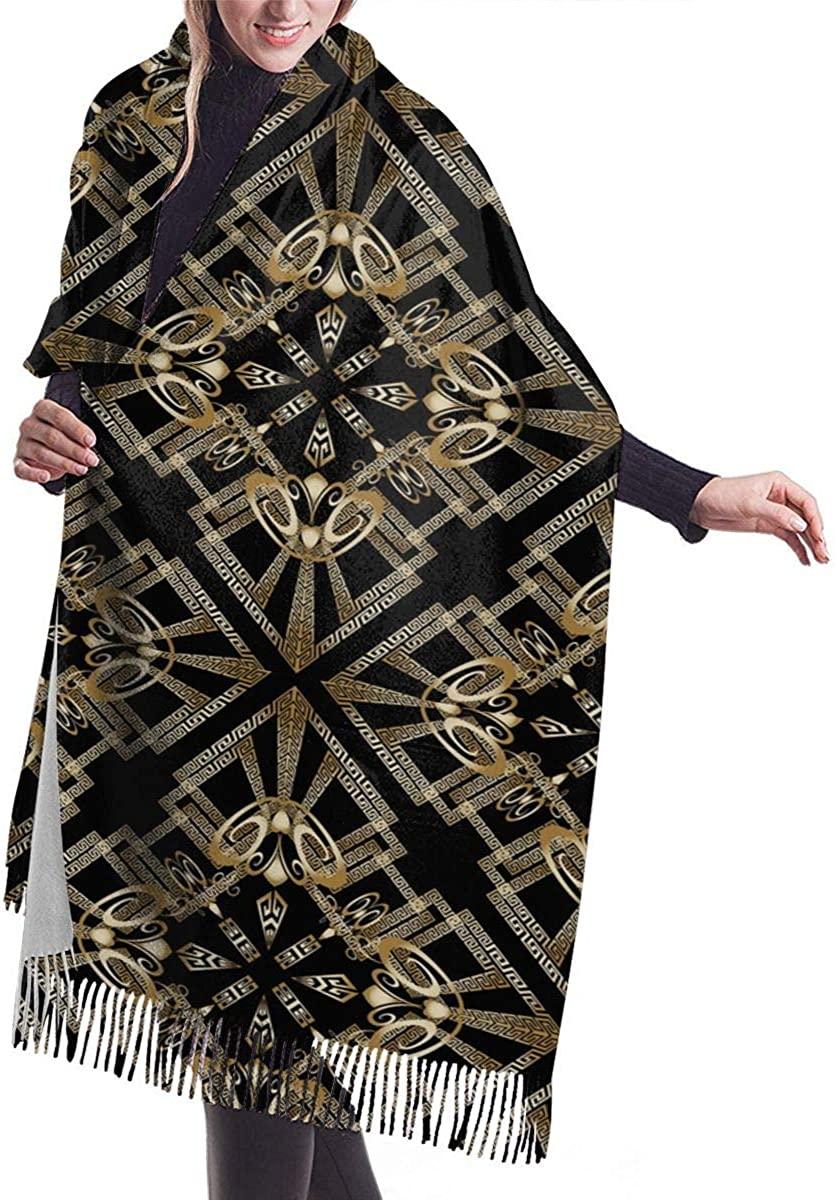 Retro Greek Gold Warm Cashmere Shawl Wrap Long Scarves Travel Neckerchief