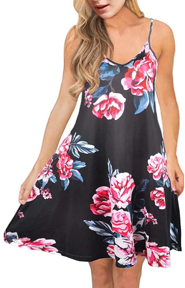 Anatoky Mini Summer Dress for Women Floral Print Spaghetti Straps V Neck Sleeveless Boho Beach Casual Dresses Sundress