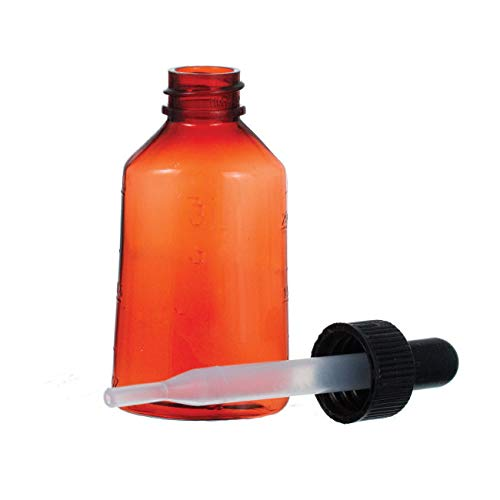 Plastic Amber Dropper Bottle, 1oz 12/bx, Oval Shaped