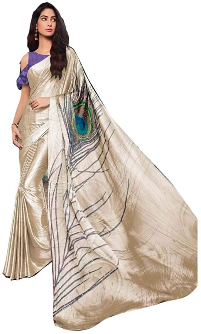 Mor Pankh Hand Printed Cream Purple Satin Silk Indian Saree Sari Pakistani Party Wedding Dress 9990
