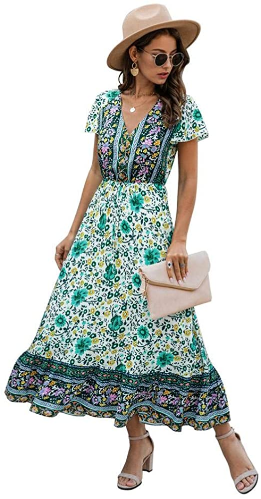 Womens Button Up Summer Casual Short Sleeve Elastic Waist Long Floral Maxi Dress