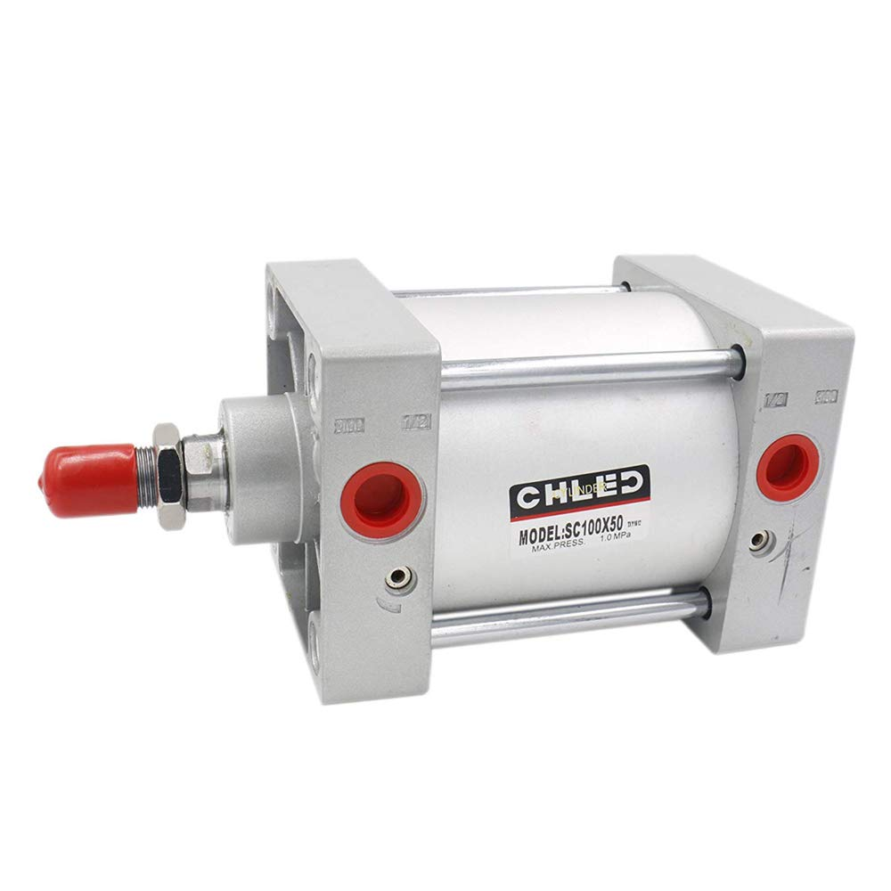 Woljay Pneumatic Air Cylinder SC 125 X 25 PT 1/2 Screwed Piston Rod Dual Action Bore: 125mm Stroke: 25mm