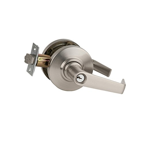 Schlage Commercial AL53SAT619 AL Series Grade 2 Cylindrical Lock, Entry Function Turn/Push Button Locking, Saturn Lever Design, Satin Nickel Finish