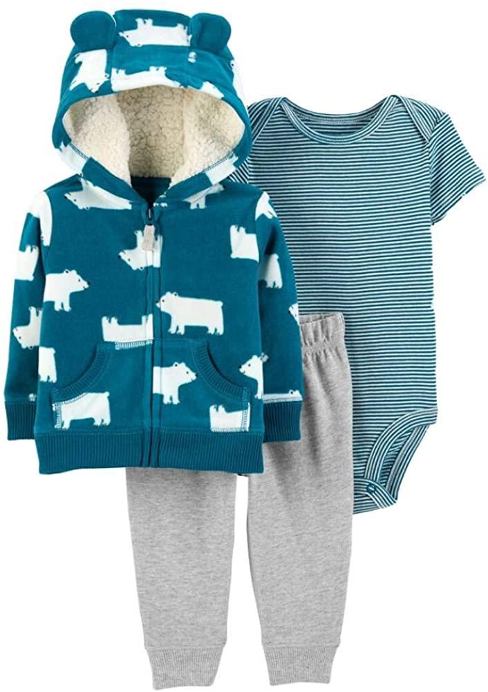 Carters Infant Boys 3Pc Outfit Blue Polar Bear Hoodie Bodysuit & Pants Set