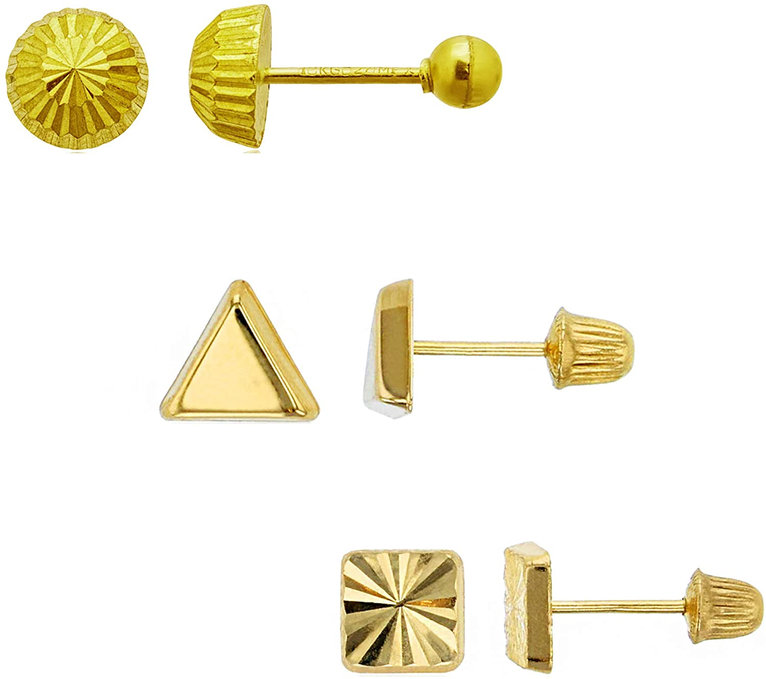 14K Yellow Gold DC 5mm Half-Ball, Polished Triangle & DC Square Screwback Earring Set