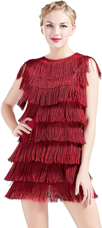 BABEYOND 1920s Flapper Dress Long Fringe Gatsby Dress Roaring 20s Cocktail Dress Vintage Art Deco Dress