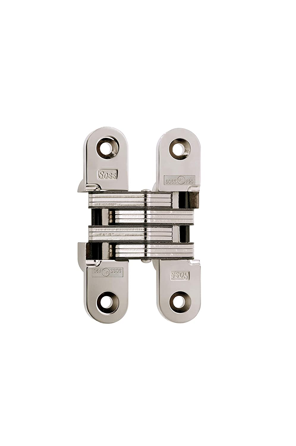SOSS 216 Zinc Invisible Hinge with Holes for Wood or Metal Applications, Bright Nickel Exterior Finish, 20 Min FR