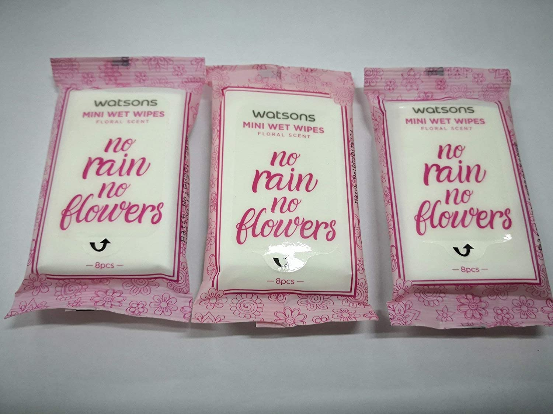 WATSONS Floral Scent Mini Wet Wipes 8s X3 Pack Aloe Vera Vitamin E Nourish Skin