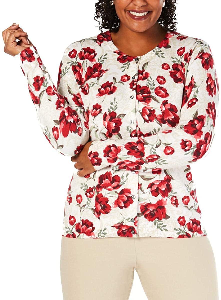 Karen Scott Womens Floral Cardigan Sweater
