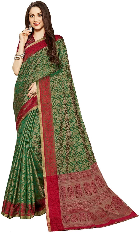Indian Saree for Women Ethnic Sari Green Fancy Linen Jacquard Saree Sari with Unstitched Blouse. ICW2769-1