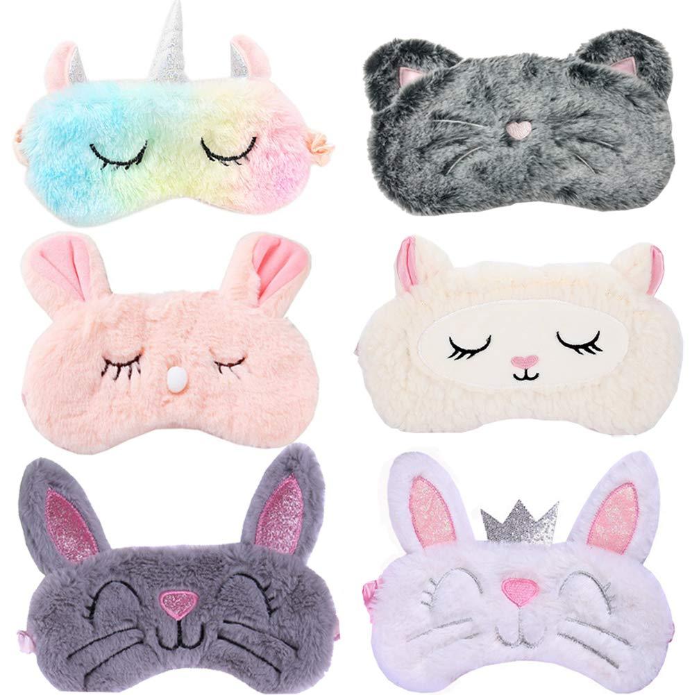 6 Pack Cute Animal Unicorn Sleep Mask for Girls Soft Plush Blindfold Cute Unicorn Rabbit Cat Sheep Sleeping Masks Eye Cover Eyeshade for Kids Teens Girls Women Plane Travel Nap Night Sleeping