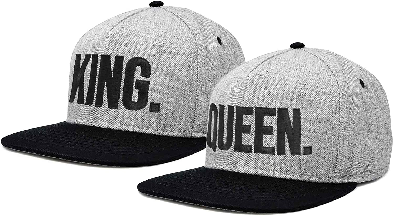 DALIX King Queen Hat Set Mens Womens Flat Bill Couples Cap