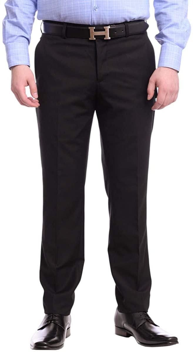 Raphael Men's Washable Flat Front Slim Fit Dress Pants