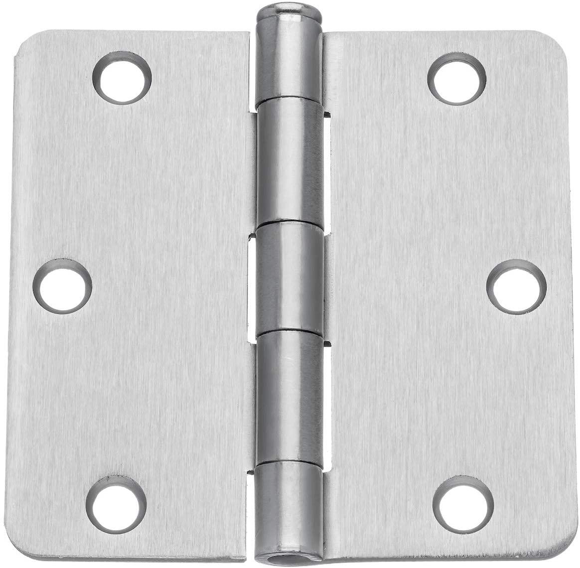 Dynasty Hardware 3-1/2 Door Hinges 1/4 Radius Corner, Satin Nickel, 2 - Pack