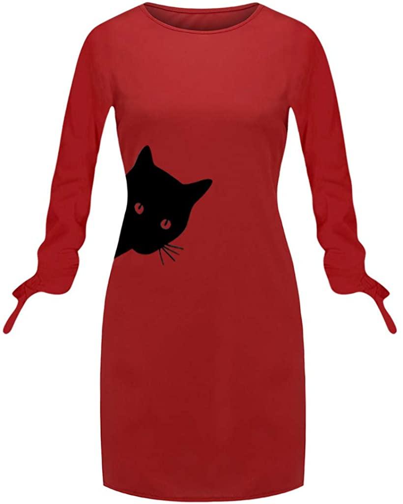 YOCheerful Dress Plus Size Women Fashion Loose Printed Cat Animal Bow O Neck Long Sleeve Blouse Mini Dress