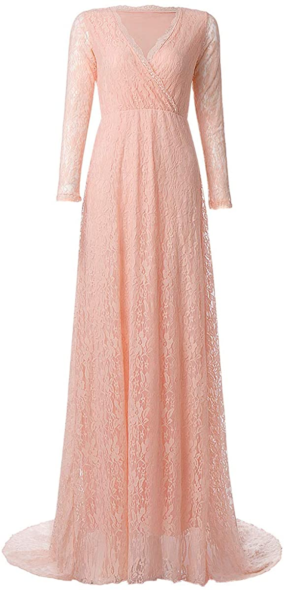 Womens Vintage V Lace Long Sleeve Bridesmaid Wedding Dress Prom Evening Cocktail Maxi Gown