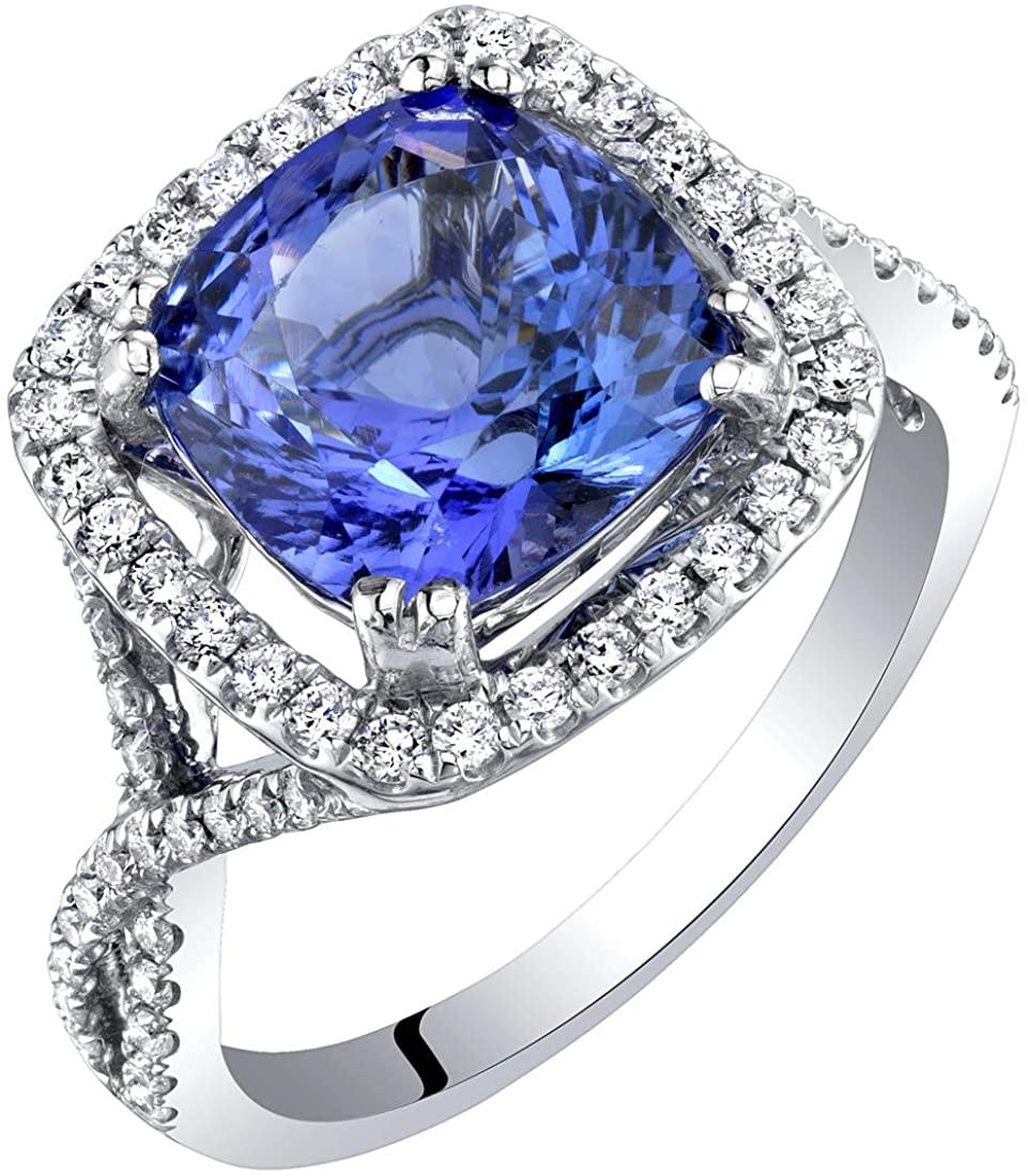 IGI Certified Tanzanite and Diamond 14K White Gold Ring 3.65 Carats Total Cushion Cut