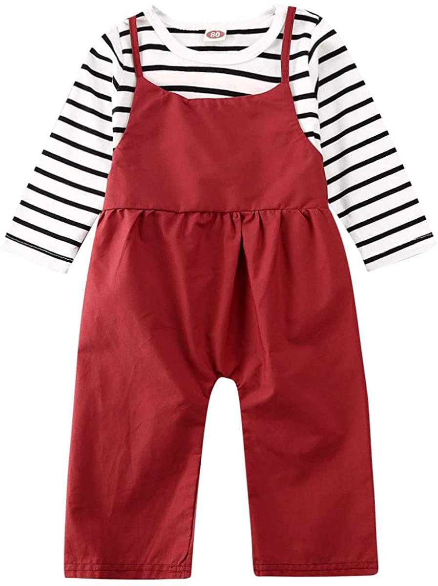Argorgeous Baby Girls 2PCS Pant Sets Long Sleeve Striped Tops T-Shirt Suspender Bib Pants Trousers Clothes Outfits