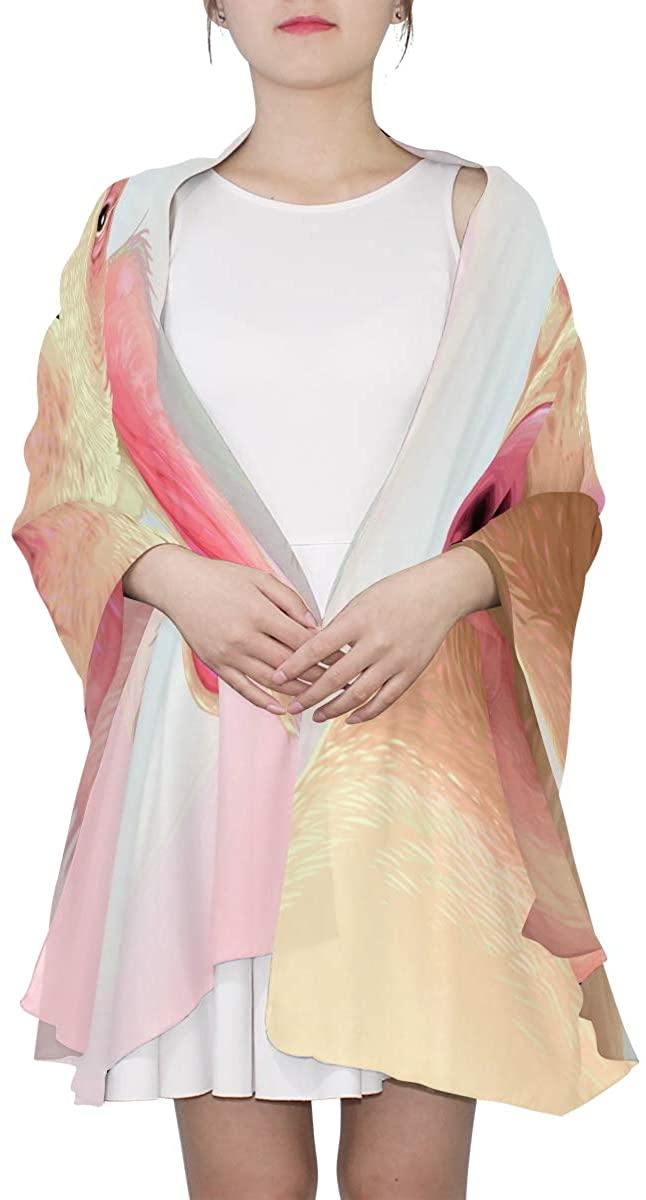 Ethel Ernest Pig Makeup Silk Scarf Lightweight Shawl Soft Long Scarves Chiffon Neckerchief for Womens Girls Ladies