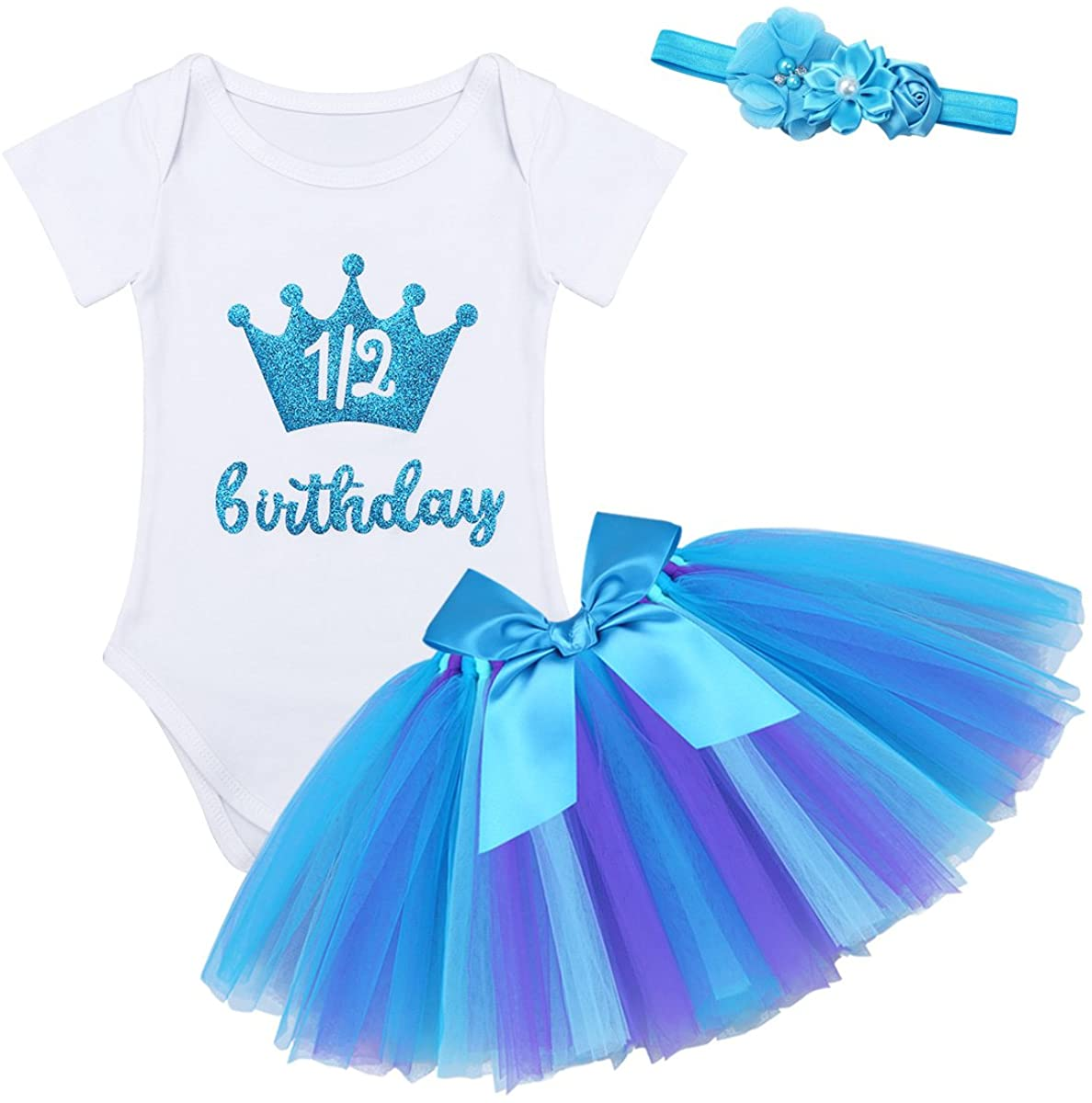 FEESHOW Newborn Baby Girls 1/2 Half / 1st Birthday Oufit Romper Bodysuit Top with Headband Tutu Skirt Set