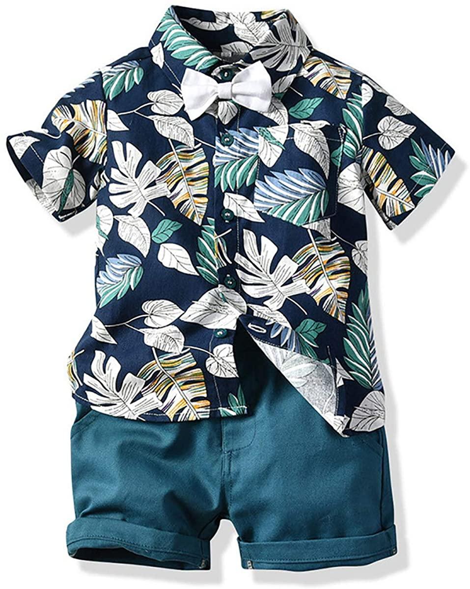 YiZYiF Toddler Boys' Kids' Summer Outfits Short Sleeve Floral Print Shirt Tops Shorts 2pcs Clothes Sets