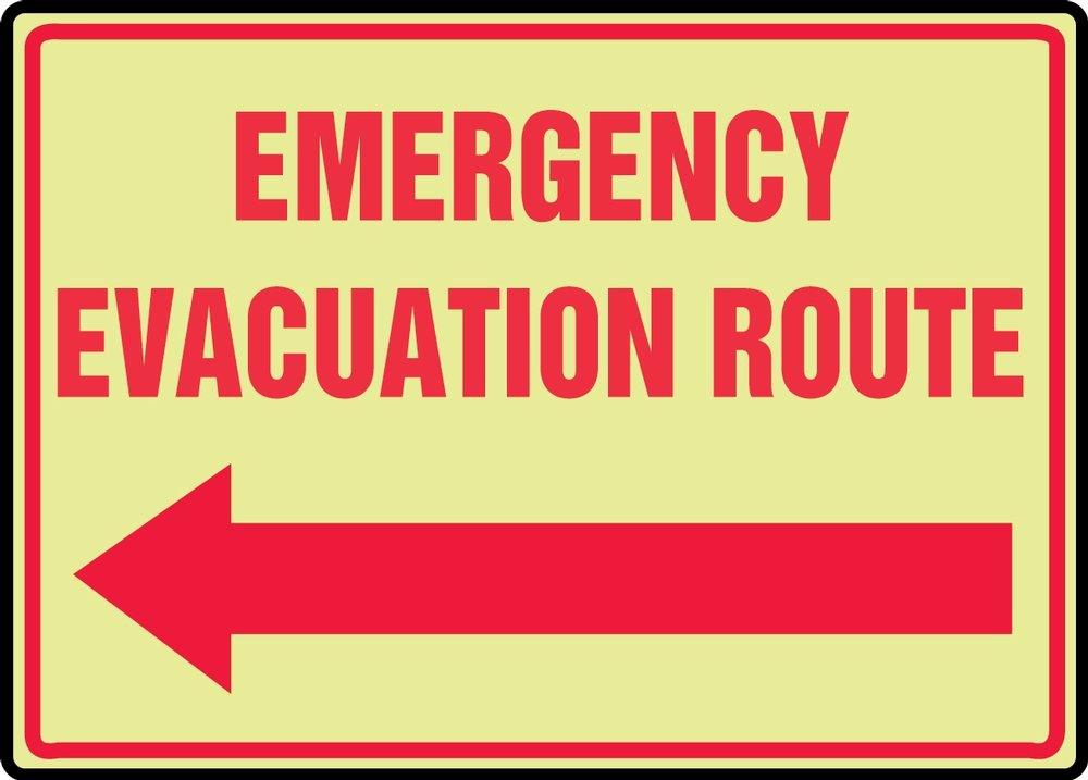 EMERGENCY EVACUATION ROUTE (ARROW LEFT)