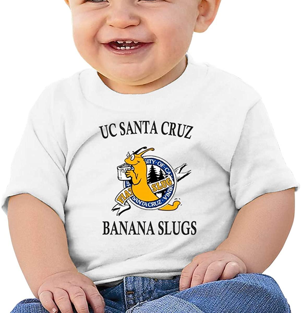 6-24 Months Boy and Girl Baby Short Sleeve T-Shirt Uc Santa Cruz Banana Slug Elegant and Simple Design White
