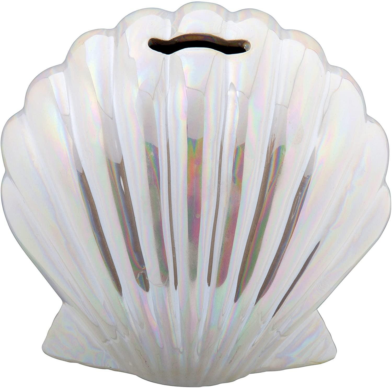 Truu Design Cute Iridescent Mermaid Shell, 3.5 x 6 inches, Pearl White Novelty Ceramic Money Bank, 3.5