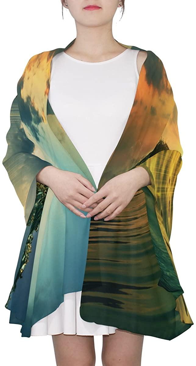 Ethel Ernest Womens Silk Scarf Cool Sea Wave Surf Sunshine Lightweight Shawl Soft Long Scarves