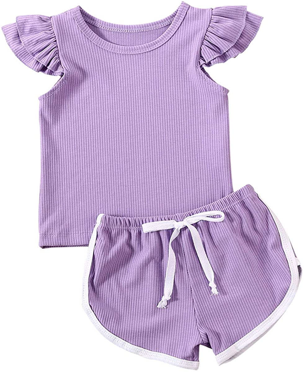 Infant Baby Girls Summer Shorts Set Cotton Short Sleeve T-Shirt Tops Ruffled Shorts Clothes Set
