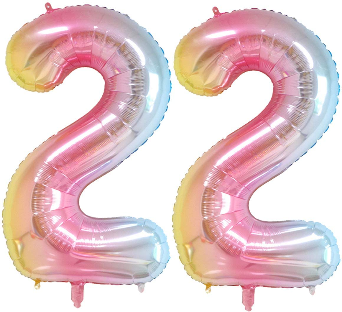 40 inch Number Balloons Foil Helium - 2 PCs Balloons for Birthday Party Decorations Mylar Rainbow Digital Jumbo Balloons for Wedding Anniversary (Rainbow, NO.2)