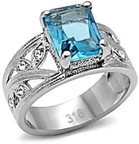 1000 Jewels Aquiair: 3.12ct Simulated Aquamarine and IOF CZ Cocktail Fashion Ring 316 Steel, 3107B