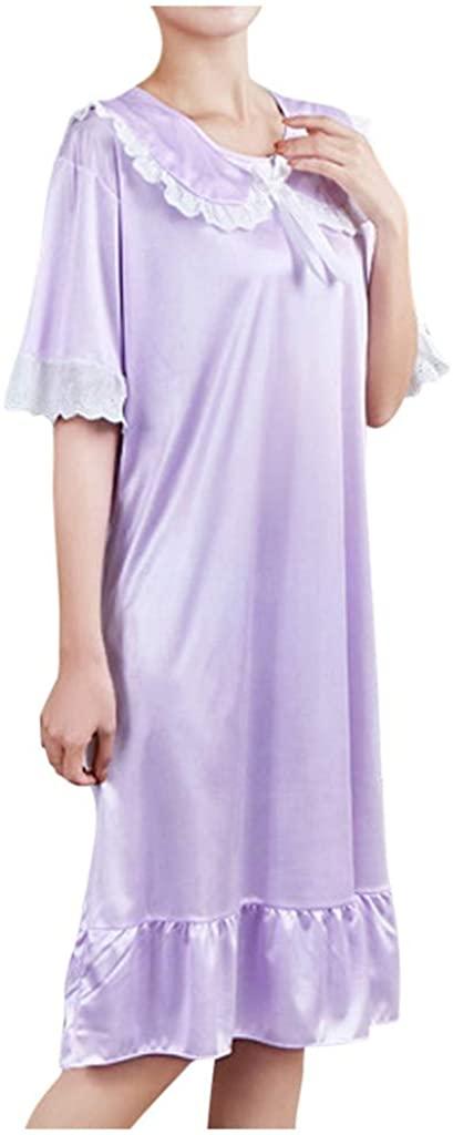 GLVSZ Women's Nightgown Sleepwear Short Sleeves Shirt Casual Print Sleepdress