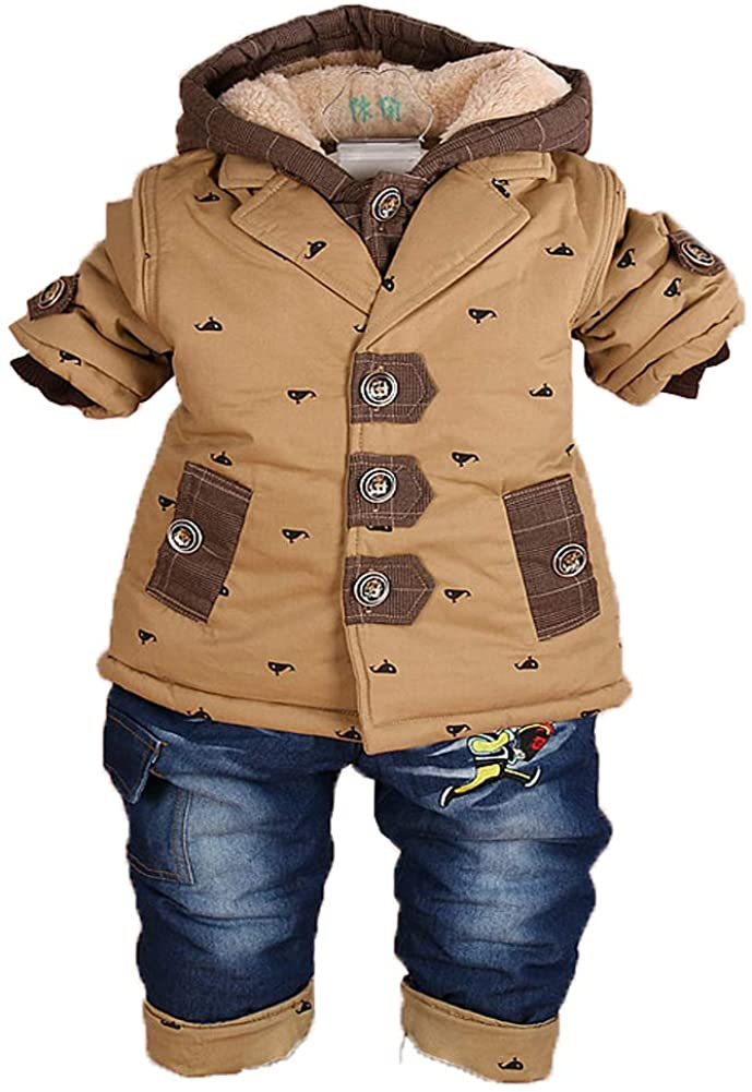 Peacolate 6-36Months Babyboys Winter Clothes Sets Cotton&Woolen 2pcs Hoodies Jacket and Pants Inner Flocked Fabric