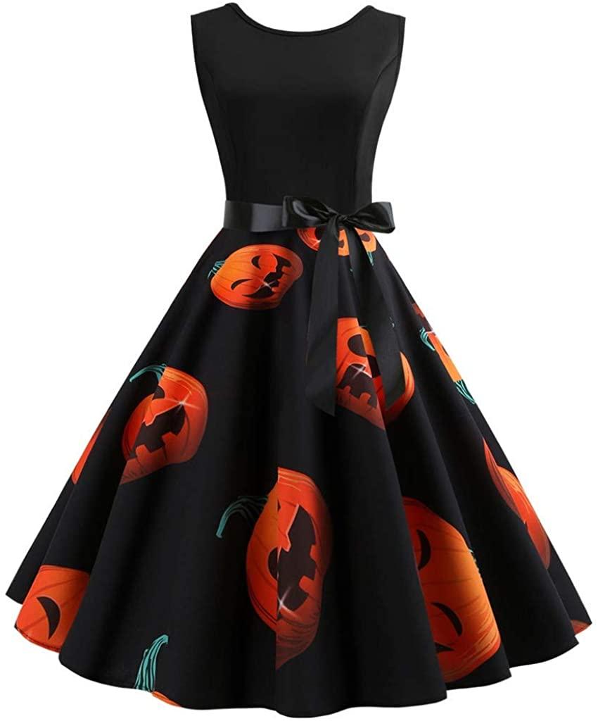 Adeliber Women's Dresses Halloween Retro Sleeveless O-Neck 3D Pumpkin Print Party Swing Dress