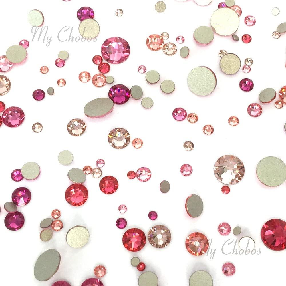 PINK Colors mixed with Swarovski 2058 Xilion / 2088 Xirius Rose flatbacks sizes ss5, ss7, ss9, ss12, ss16, ss20, ss30 No-Hotfix rhinestones nail art 144 pcs (1 gross) from Mychobos (Crystal-Wholesale)