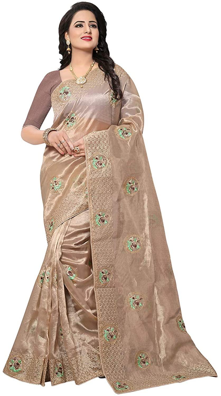 Saree for Women Bollywood Wedding Designer CHIKU Sari with Unstitched Blouse.