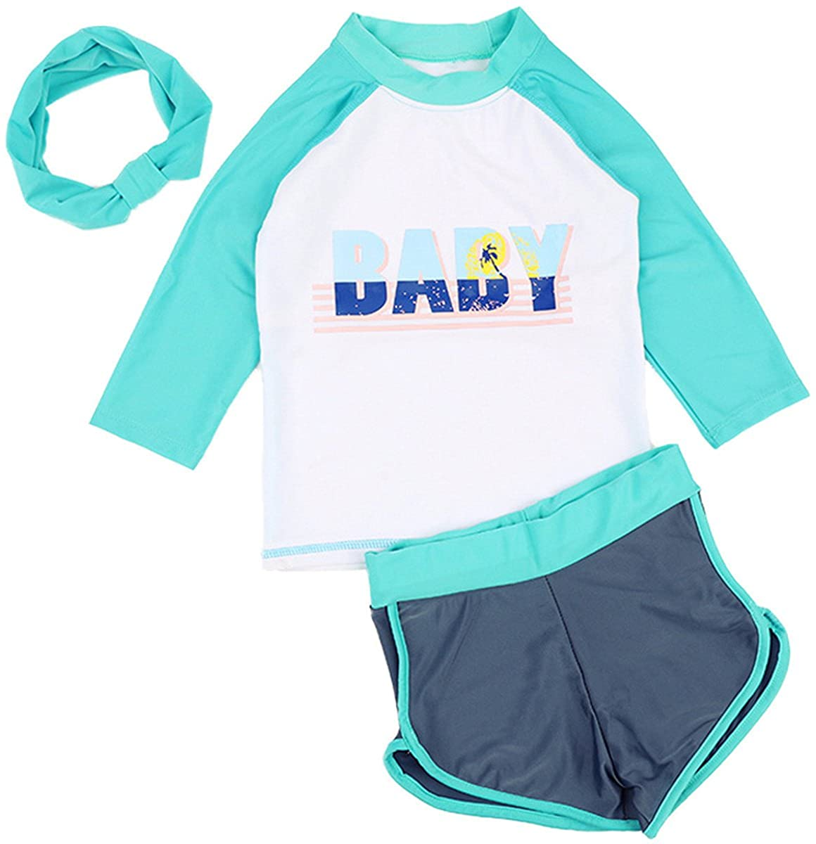 Baby Kids Girls Two Pieces Letter Print Long Sleeve Boy-Leg Sun Protection Swimsuit with Headband
