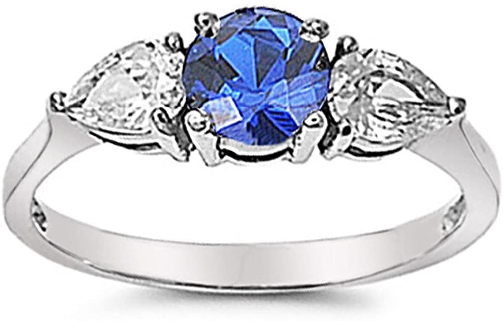 Silver Hearts Jewelry Simulated Blue Sapphire Stainless Steel Engagement Ring